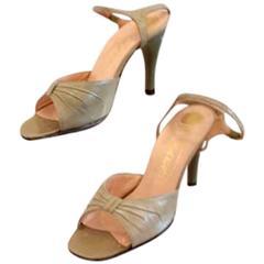 """Ravne Green Porceline """"Angel"""" Heels, Circa 1950's"""