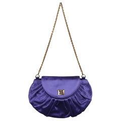 ESCADA Purple Pleated Silk Satin Gold Logo Evening Handbag