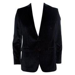 Dolce and Gabbana Black Striped Velvet Martini Blazer M