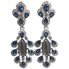 Oscar de la Renta Parlor Crystal Drop Clip On Earrings, Blue, Gray, Silvertone