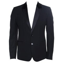 Dolce and Gabbana Black Wool Blend Velvet Trim Blazer M