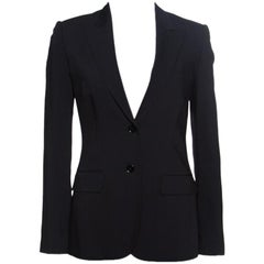 Dolce and Gabbana Black Wool Leopard Print Lined Tailored Blazer S