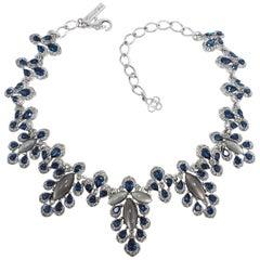 Oscar de la Renta Multicolored Parlor Link Necklace, Blue and Gray, Silvertone