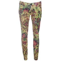 Dolce and Gabbana Floral Printed Corduroy Skinny Pretty Pants S