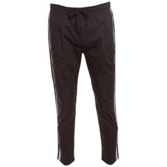 Dolce and Gabbana Brown Cotton Side Stripe Detail Elastcized Waist Pants S