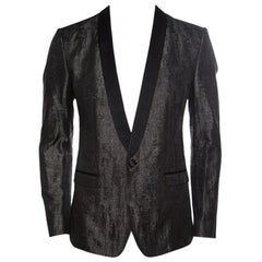 Dolce and Gabbana Gold Grey Metallic Jacquard Satin Trim Tuxedo Blazer M