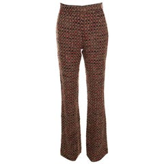 Dolce and Gabbana Brown Textured Wool Blend High Rise Wide Leg Trousers S