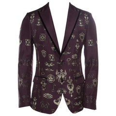 Dolce and Gabbana Burgundy Key and Axe Printed Silk Velvet Trim Jacket S