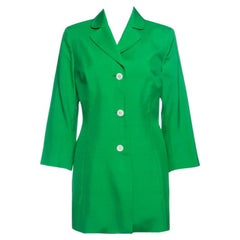 Dolce and Gabbana Green Silk Knit Coat M