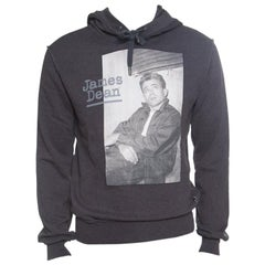 Dolce and Gabbana Grey Cotton Terry James Dean Print Hoodie S