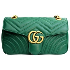 Gucci Marmont Green Leather Crossbody / Shoulder Bag