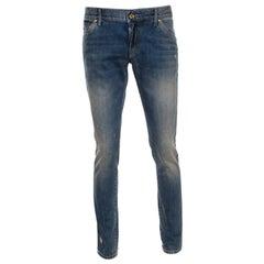 Dolce and Gabbana Indigo Washed Denim Splatter Effect Distressed Jeans M