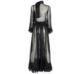 Jean Louis Scherrer haute couture black polka dots sheer evening gown, f/w 2005
