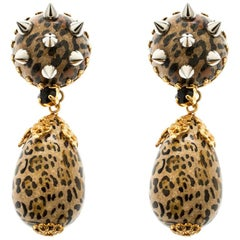 Dolce and Gabbana Leopard Print Spiked Two Tone Long Clip-On Earrings