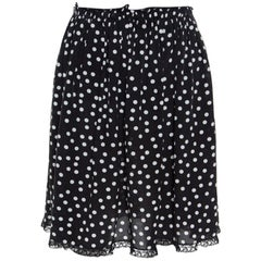 Dolce and Gabbana Monochrome Polka Dotted Lace Trim Silk Skirt M