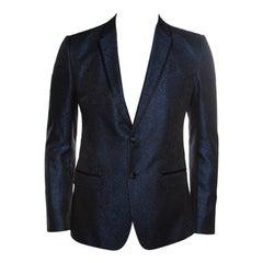 Dolce and Gabbana Navy Blue Metallic Jacquard Satin Trim Tuxedo Blazer M