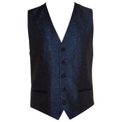 Dolce and Gabbana Navy Blue Metallic Jacquard Satin Trim Waistcoat L