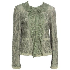 Dolce and Gabbana Olive Green Floral Lace Ruffle Trim Jacket M