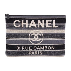 Chanel Deauville Pouch Striped Canvas Large