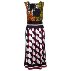 Dolce and Gabbana Multicolor Abstract Printed Silk Sleeveless Dress S