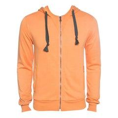 Dolce and Gabbana Orange Zip Front Hoodie XS