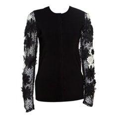 Emanuel Ungaro Black Floral Applique Lace Sleeve Detail Cardigan L