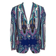 Etro Multicolor Paisley Printed Cotton Superleggera Minerva Blazer L