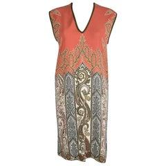Etro Orange Printed Sleeveless V-Neck Dress S