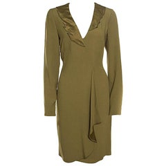 Emporio Armani Olive Green Flutter Front Long Sleeve Tunic Dress L