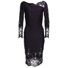Ermanno Scervino Navy Blue Draped Neckline Lace Detail Fitted Midi Dress XS