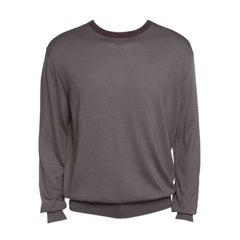 Ermenegildo Zegna Brown and Grey Contrast Crew Neck Sweater XXL