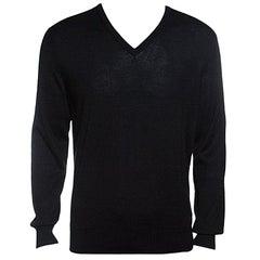 Ermenegildo Zegna Cashseta Light Black Ribbed Trim V-Neck Sweater L