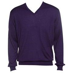 Ermenegildo Zegna Purple Cashseta Light Ribbed Trim V-Neck Sweater L