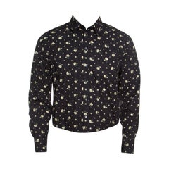 Dolce and Gabbana Sicilia Black Floral Printed Cotton Long Sleeve Shirt XL