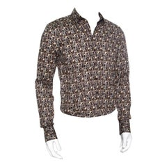 Dolce and Gabbana Sicilia Brown Key Printed Cotton Long Sleeve Button Front Shir