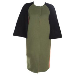 Fendi Colorblock Paneled Wool Cape Style Boxy Coat M