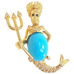 KJL Kenneth Jay Lane Poseidon Crystal and Turquoise Cabochon Goldtone Brooch Pin