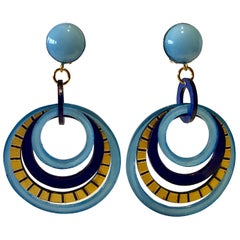 Modern Pop Art Blue Architectural Hoop Statement Earrings