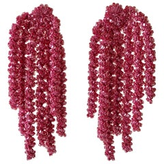 Large Linear Pink Designer Statement Earrings