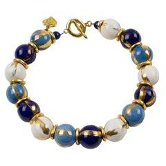 Edouard Rambaud Paris Signed Choker Necklace White Blue Ceramic Bead