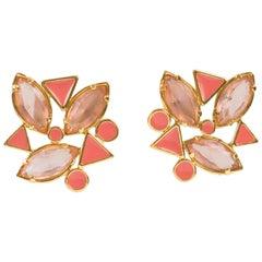 Yves Saint Laurent Paris Pierced Earrings Gilt Metal Pink Salmon Rhinestones
