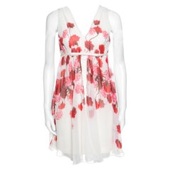 Giambattista Off White Floral Printed Silk Lace Underlay Sleeveless Dress S