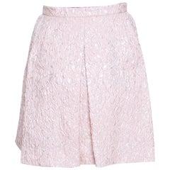 Giambattista Valli Pink Floral Embossed Jacquard Inverted Pleat Mini Skirt M