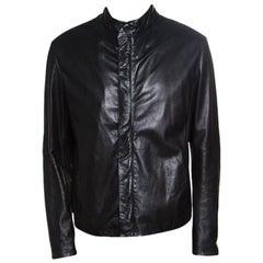 Giorgio Armani Black Lambskin Leather Concealed Zip Front Jacket XXL