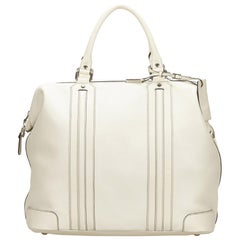 Gucci White Leather Travel Bag