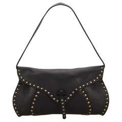 Celine Black Studded Leather Baguette