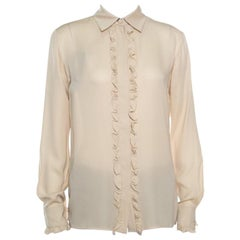 Gucci Beige Silk Ruffle Placket and Cuff Detail Long Sleeve Blouse S