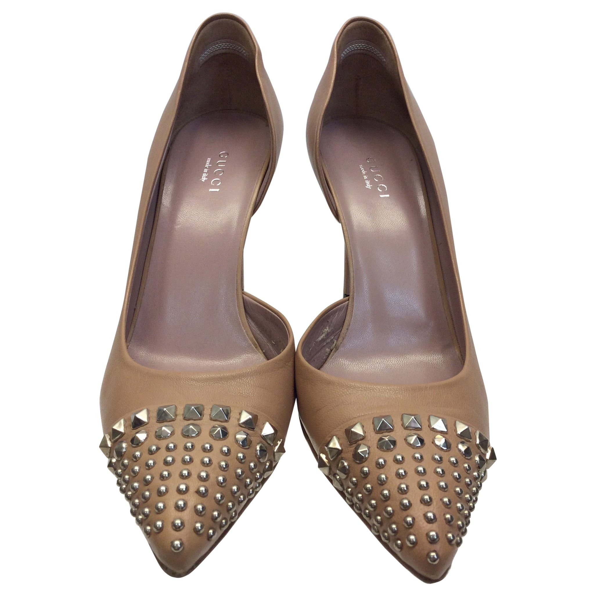 f9404521d6db Gucci Tan Leather Studded Heels For Sale at 1stdibs