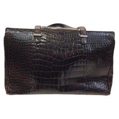 Judith Leiber Brown Crocodile Shoulder Bag