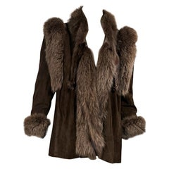 Brown Vintage Christine Vogdt Suede Fur Jacket